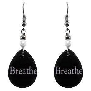 "Handmade black and white teardrop inspirational earrings with acrylic, seed beads, and metal hooks in ""Breathe""."