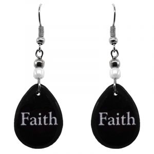"Handmade black and white teardrop inspirational earrings with acrylic, seed beads, and metal hooks in ""Faith""."