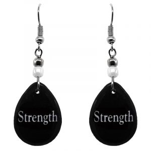 "Handmade black and white teardrop inspirational earrings with acrylic, seed beads, and metal hooks in ""Strength""."