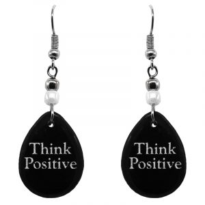 "Handmade black and white teardrop inspirational earrings with acrylic, seed beads, and metal hooks in ""Think Positive""."