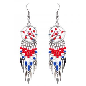 Round beaded dream catcher earrings with long seed bead and alpaca silver dangles in USA American flag color combination.