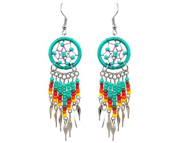Handmade Native American inspired round beaded thread dream catcher earrings with long seed bead and alpaca silver dangles in mint green, gold, red, orange, and yellow color combination.