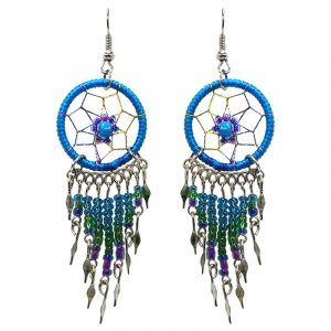 Handmade round beaded thread dream catcher earrings with daisy flower design and long seed bead and alpaca silver dangles in turquoise blue, green, and purple color combination.
