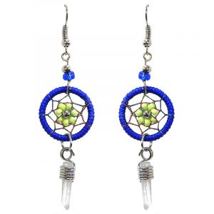 Handmade round beaded thread dream catcher earrings with daisy flower design and clear quartz crystal point dangle in blue and lime green color combination.