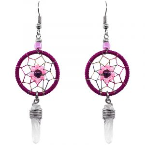 Handmade round beaded thread dream catcher earrings with daisy flower design and clear quartz crystal point dangle in dark pink, light pink, and black color combination.