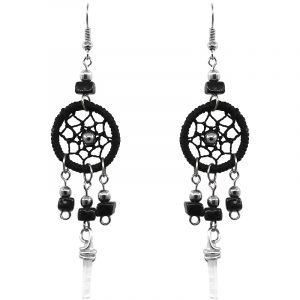 Handmade round thread dream catcher earrings with chip stones and clear quartz crystal point dangle in black color.