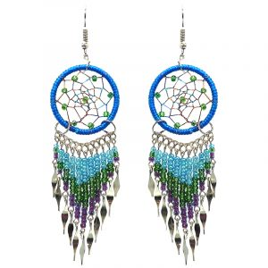 Handmade large dream catcher dangle earrings with silk thread, seed beads, and alpaca silver in turquoise blue, green and purple color combination.
