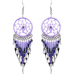 Handmade large dream catcher dangle earrings with silk thread, seed beads, and alpaca silver in lavender, purple, and iridescent color combination.
