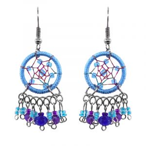 Handmade round beaded thread dream catcher earrings with short seed bead and crystal bead dangles in light blue, blue, and purple color combination.