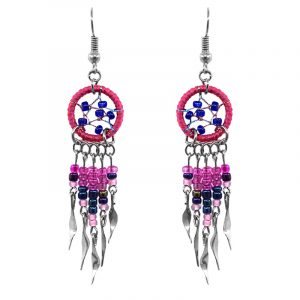 Handmade mini round beaded thread dream catcher earrings with long seed bead and alpaca silver dangles in hot pink, navy blue, and pink color combination.