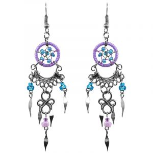 Handmade mini round beaded thread dream catcher earrings with long silver metal chandelier dangle in purple lavender and light blue turquoise color combination.