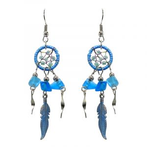 Handmade mini round beaded thread dream catcher earrings with chip stones, colored metal feather charm, and alpaca silver dangles in light blue and turquoise color combination.