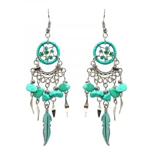 Handmade mini round beaded thread dream catcher earrings with chip stones, colored metal feather charm, and alpaca silver dangles in turquoise mint and teal green color combination.