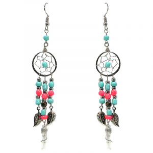 Handmade round beaded silver metal dream catcher earrings with long seed bead, leaf charm, and wire wrapped clear quartz crystal point dangles in turquoise mint and salmon pink color combination.