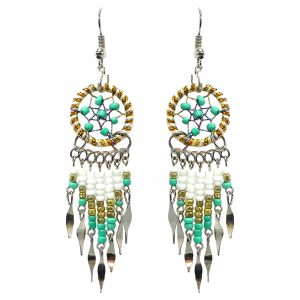 Handmade round beaded sparkle thread dream catcher earrings with long seed bead and alpaca silver metal dangles in white, gold, and mint green color combination.