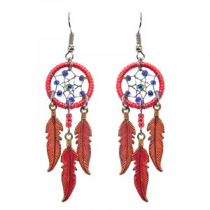 Handmade round beaded thread dream catcher earrings with three long colored metal feather charm dangles in red, indigo, and gold color combination.