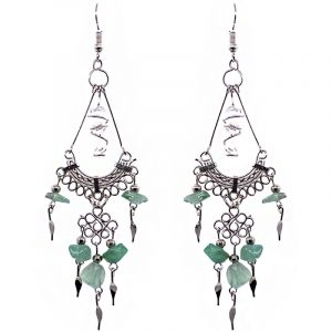 Handmade wire wrapped clear quartz crystal and alpaca silver metal earrings with chandelier-style chip stone and metal dangles in light green color.