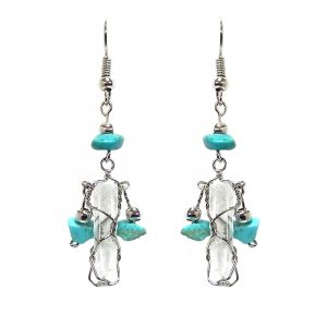 Handmade silver metal wire wrapped clear quartz crystal dangle earrings with three chip stones in turquoise howlite.