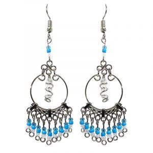 Handmade wire wrapped clear quartz crystal point metal hoop earrings with seed bead and alpaca silver metal dangles in light blue, turquoise, and white color combination.