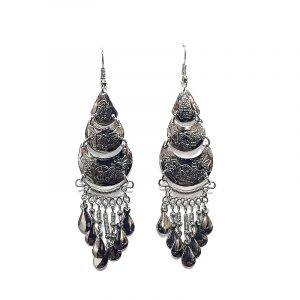 Arch-shaped alpaca silver metal earring with long dangles.