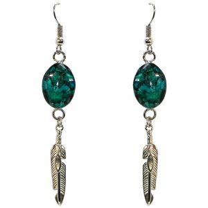 Handmade mini oval-shaped resin and crushed chip stone inlay dangle earrings with alpaca silver metal setting and feather charm dangle in teal green chrysocolla color.