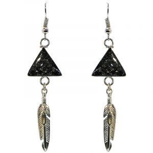 Handmade mini triangle-shaped resin and crushed chip stone inlay dangle earrings with alpaca silver metal setting and feather charm dangle in silver pyrite color.