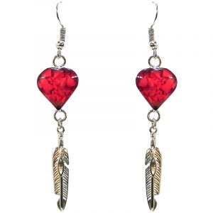 Handmade mini heart-shaped resin and crushed chip stone inlay dangle earrings with alpaca silver metal setting and feather charm dangle in red color.