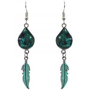 Handmade mini teardrop-shaped resin and crushed chip stone inlay dangle earrings with alpaca silver metal setting and colored feather charm dangle in teal green chrysocolla color.