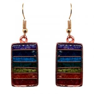 Rectangle-shaped striped acrylic resin, copper wire, and crushed chip stone inlay orgonite dangle earrings with 7 chakra rainbow striped pattern and copper metal setting.