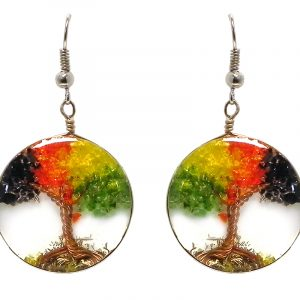 Round-shaped clear acrylic resin, copper wire, and crushed chip stone inlay tree of life dangle earrings in Rasta colors.