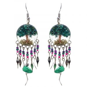 Handmade round-shaped clear acrylic resin, copper wire, and crushed chip stone inlay tree of life dangle earrings with long seed bead, chip stone, and alpaca silver metal dangles in teal green, purple, and hot pink color combination.