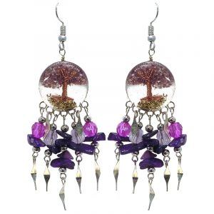 Handmade round-shaped clear acrylic resin, copper wire, and crushed chip stone inlay tree of life dangle earrings with long crystal bead, chip stone, and alpaca silver metal dangles in purple, dark purple, and clear color combination.
