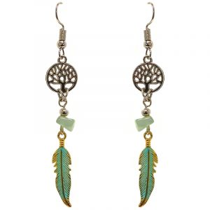 Handmade silver metal tree of life charm earrings with chip stone and colored metal feather charm dangle in light green and mint color combination.