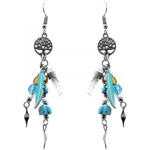 Handmade silver metal tree of life charm earrings with colored feather charm, wire wrapped clear quartz crystal, seed bead, crystal bead, and chip stone dangles in turquoise blue howlite and orange color combination.