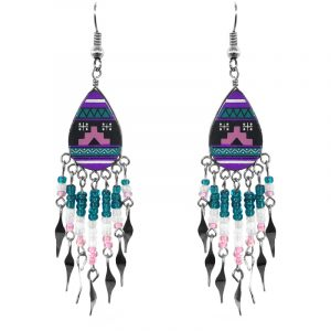 Handmade tribal teardrop dangle earrings with ceramic, seed beads, alpaca silver, and metal hooks in purple, teal, white, and pink color combination.