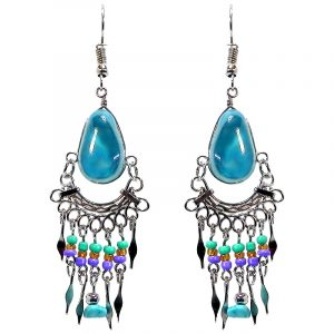 Handmade teardrop-shaped glass bead cat's eye earrings with chip stone, seed bead, and alpaca silver metal dangles in turquoise blue, mint green, gold, and purple color combination.