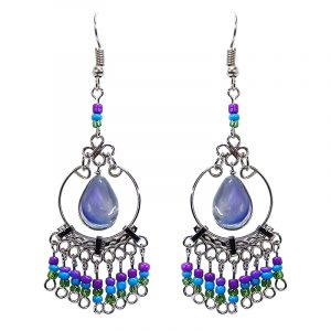 Handmade teardrop-shaped glass bead cat's eye silver metal hoop earrings with seed bead and alpaca silver metal dangles in purple, turquoise blue, and green color combination.