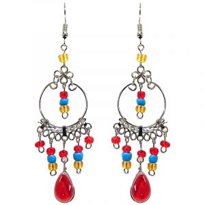 Beaded silver metal hoop earrings with long teardrop-shaped glass bead cat's eye and seed bead dangles in red, turquoise blue, and gold color combination.