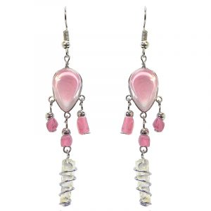 Handmade teardrop-shaped glass bead cat's eye earrings with silver metal wire wrapped clear quartz crystal and chip stone dangles in pink color.