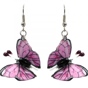 Three-dimensional butterfly durable plastic dangle earrings in light pink gray, and black color combination.