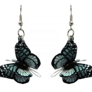 Three-dimensional monarch butterfly durable plastic dangle earrings in gray, black, and white color combination.