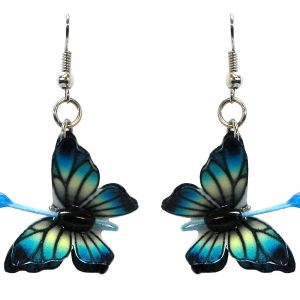 Three-dimensional butterfly durable plastic dangle earrings in turquoise blue, light yellow, and black color combination.