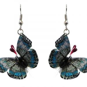 Three-dimensional butterfly durable plastic dangle earrings in turquoise blue, gray, and black color combination.