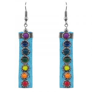 Handmade rectangle-shaped suede material earrings with chakra rainbow colored beads in turquoise blue color.