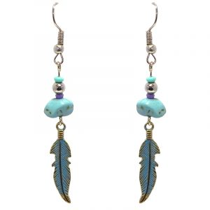 Handmade colored metal feather charm dangle earrings with chip stone in turquoise blue and purple color combination.