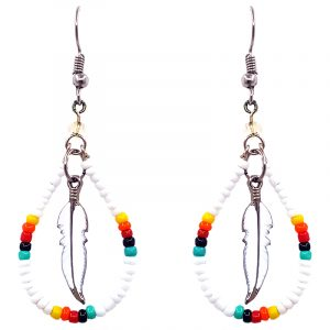 Handmade Native American inspired teardrop-shaped seed bead hoop earrings with colored metal feather charm inner dangle in white, yellow, orange, red, black, and mint green color combination.