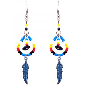 Handmade Native American inspired teardrop-shaped seed bead and chip stone earrings with colored metal feather charm dangle in turquoise blue, yellow, red, white, and black color combination.