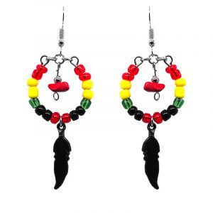 Handmade Rasta beaded hoop feather dangle earrings withchip stone, seed beads, metal charm, and metal hooks in black, red, green, and yellow color combination.