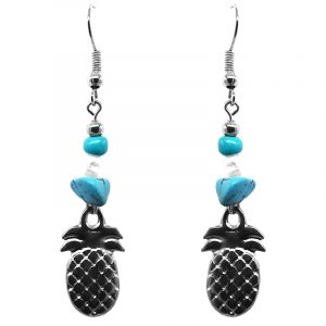 Handmade silver metal pineapple charm dangle earrings with chip stones in turquoise blue and white color combination.