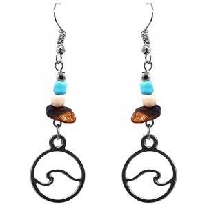 Handmade round-shaped silver metal wave charm dangle earrings with chip stones in turquoise blue, white, and brown tiger's eye color combination.